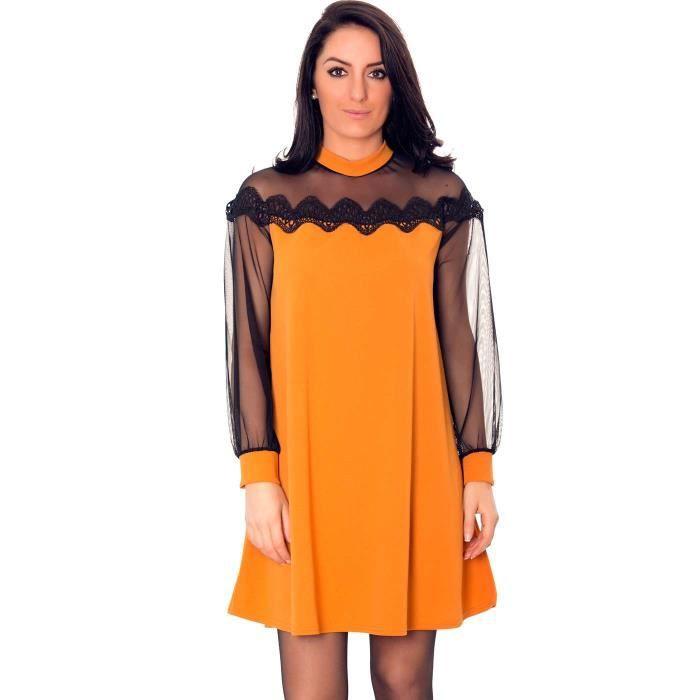 Miss Wear Line - Petite robe jaune moutarde manches bouffantes dentelles et broderie