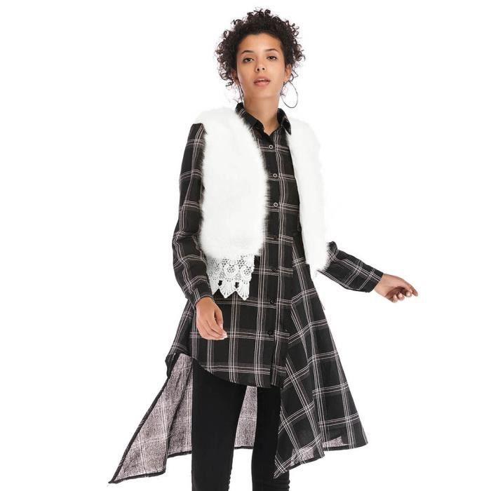 010c0a418eb6 Faux Femmes Mode fourrure veste courte veste en dentelle solide ...
