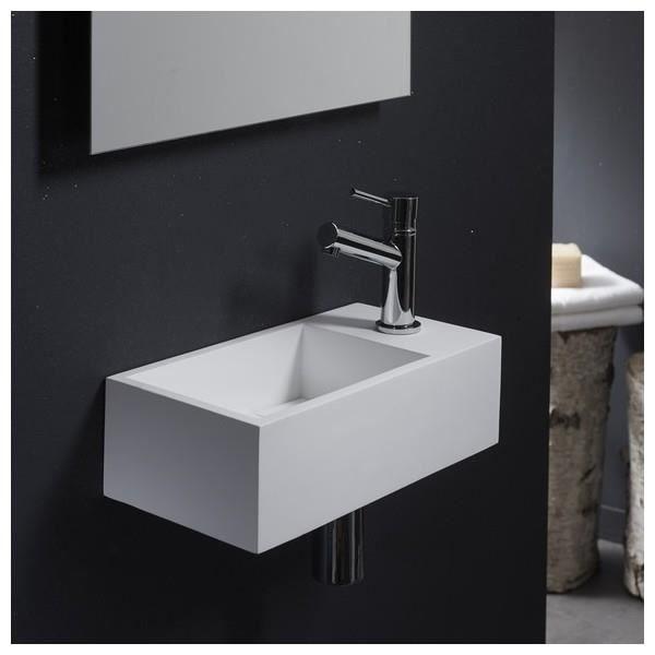 lave mains gain de place en solid surface sacramento 35x18 cm achat vente lave main 161034. Black Bedroom Furniture Sets. Home Design Ideas