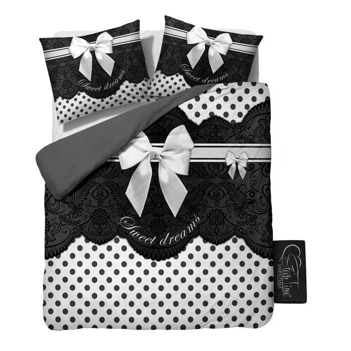 sleeptime housse de couette romance 200x200 220 gris avec 2 housse d 39 oreiller 60x70. Black Bedroom Furniture Sets. Home Design Ideas