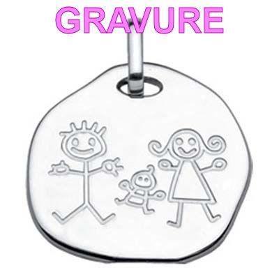 Bijoux Dessin pendentif dessin enfant famille argent - gravure - achat / vente