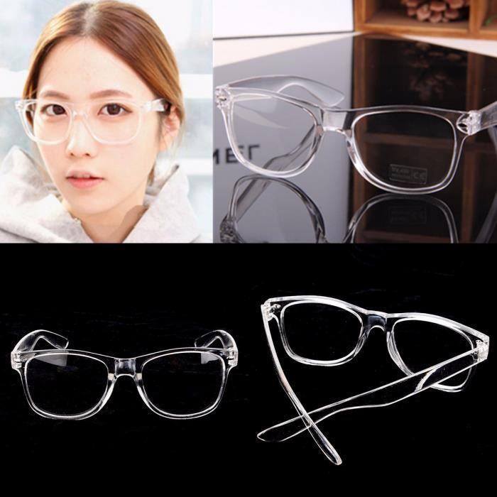 Monture de lunette Transparent de Vue Myopie Presbyte Loupe Optique Homme  Femme 110cea66aca3