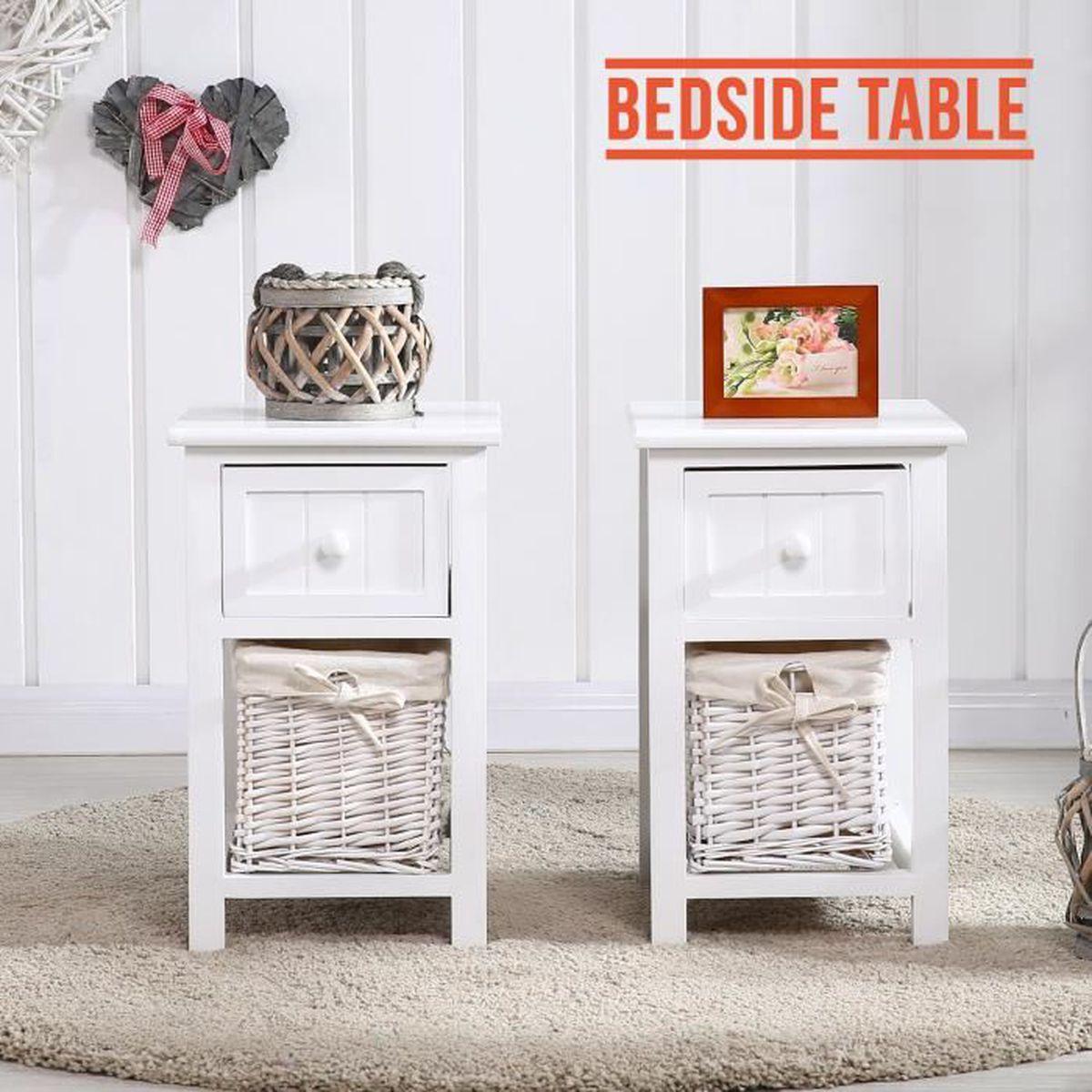 lot de 2 tables de chevet avec panier de rangement en. Black Bedroom Furniture Sets. Home Design Ideas