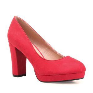 Escarpin Femmes Pompes élégant talon carré Color Block Faddish Chaussures 12932354 Swjk3wh