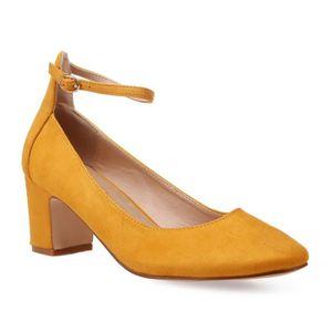 ESCARPIN Escarpins rétro jaune moutarde avec bride-36