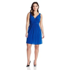 b0710a97fdf ROBE Femmes Plus-taille manches Knot-avant Surplice Rob