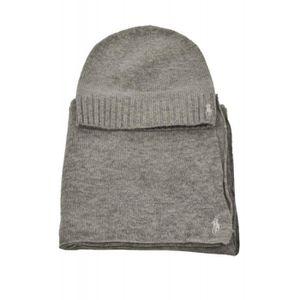 BONNET - CAGOULE Coffret écharpe et bonnet Ralph Lauren gris pour f