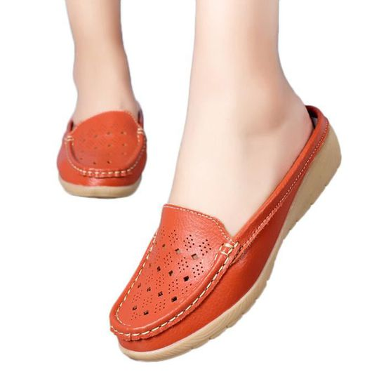 Femmes Wedges Casual souple Bas Slip en plein air sur la moitié pantoufle pois Chaussures bateau @Orange Benjanies Orange Orange - Achat / Vente slip-on