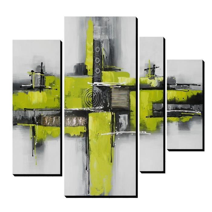 4pcs aonbat tableaux de peinture l 39 huile toile peint la main moderne abstrait vert. Black Bedroom Furniture Sets. Home Design Ideas