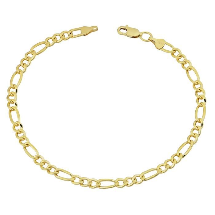 Bracelet Chaîne en Figaro massif, or jaune 14 carats, 4,0 mm, 8,5