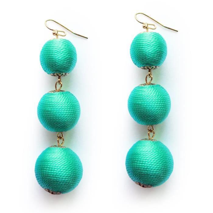 Womens Thread Wrapped Triple Balls Dangle Earrings Lantern Ball Tassel Cute Soriee Drop Earrings F IVQJB