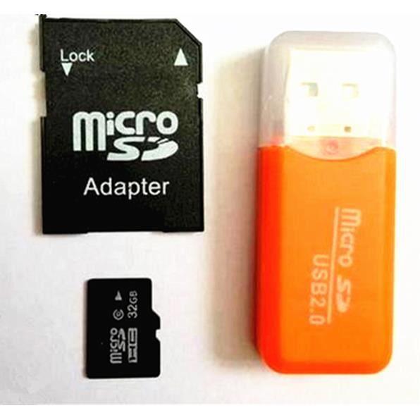 CARTE MÉMOIRE 32 g32gb Carte micro-SD 32 go + adaptateur SD + cl
