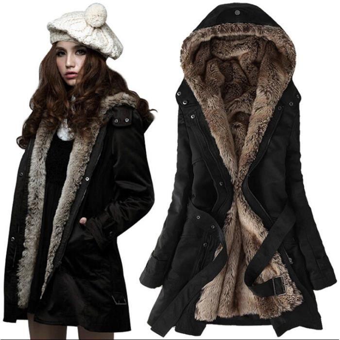 femme epaissir fleece faux fur manteau chaud d 39 hiver. Black Bedroom Furniture Sets. Home Design Ideas