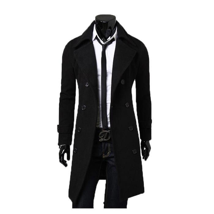 Hiver automne Manteau Elegant Homme Boutonnage Avec Noir D Hiver Slim Double Long gris Trench kaki ZZq4UEfxgw