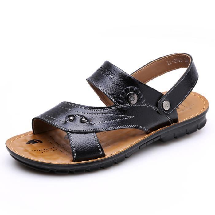 SIMPVALE sandales en cuir d'été pour hommes 1ukUA9ii