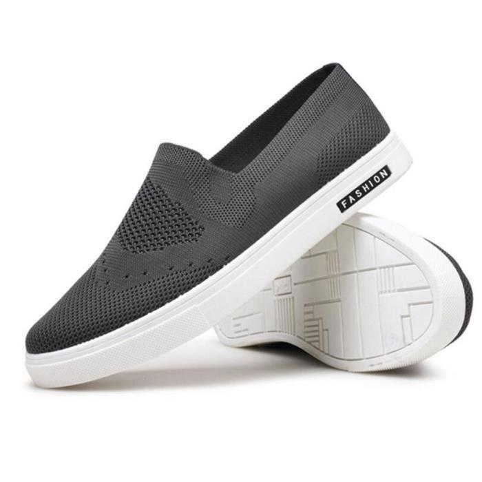 Sneaker homme De Marque De Luxe 2017 Nouvelle arrivee Chaussure Classique Qualité Supérieure Gris Gris - Achat / Vente basket  - Soldes* dès le 27 juin ! Cdiscount
