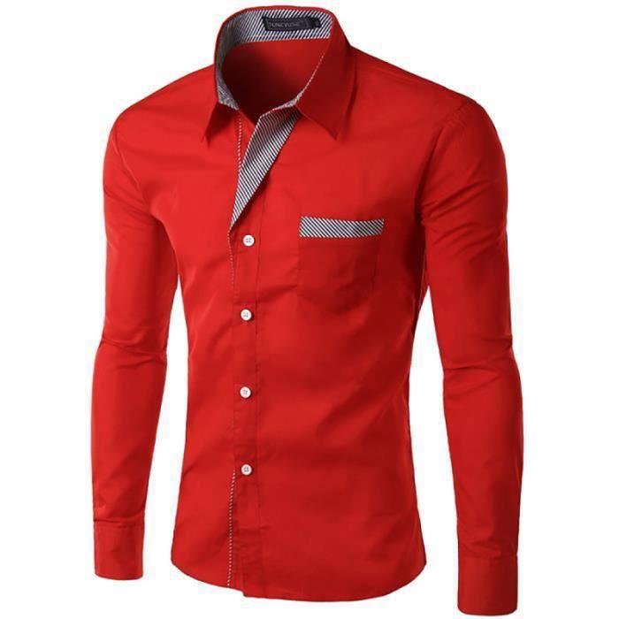 ca17d0d4124e6 Chemise Homme Blanche Marque Slim Fit Manche Longue Chemises Pour Hommes