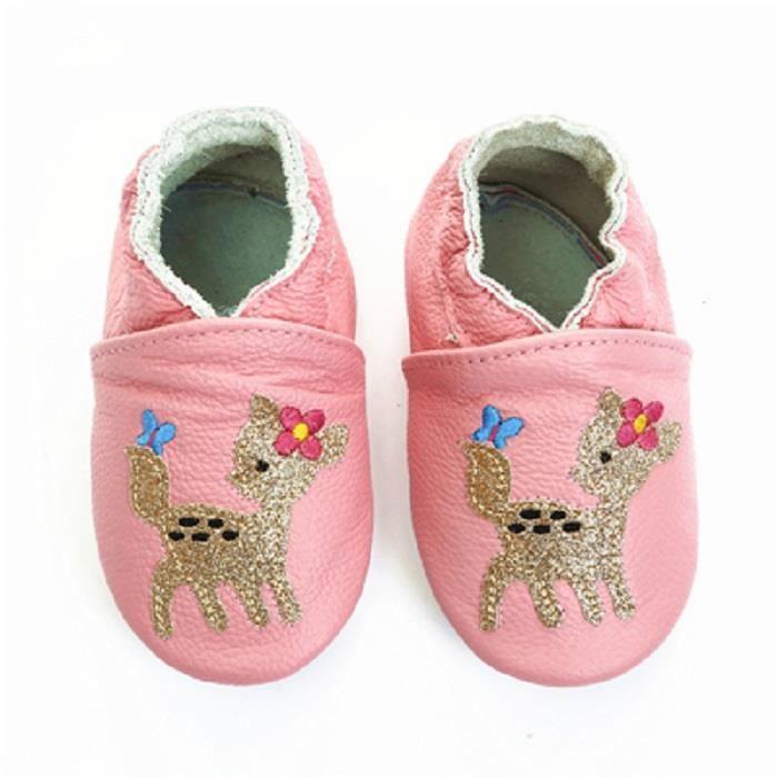 plus de photos 641f7 0375e Chaussures Bébé Cuir Souple bébé et tout-petit par Semelles antidérapantes  en daim Modèle animal mignon