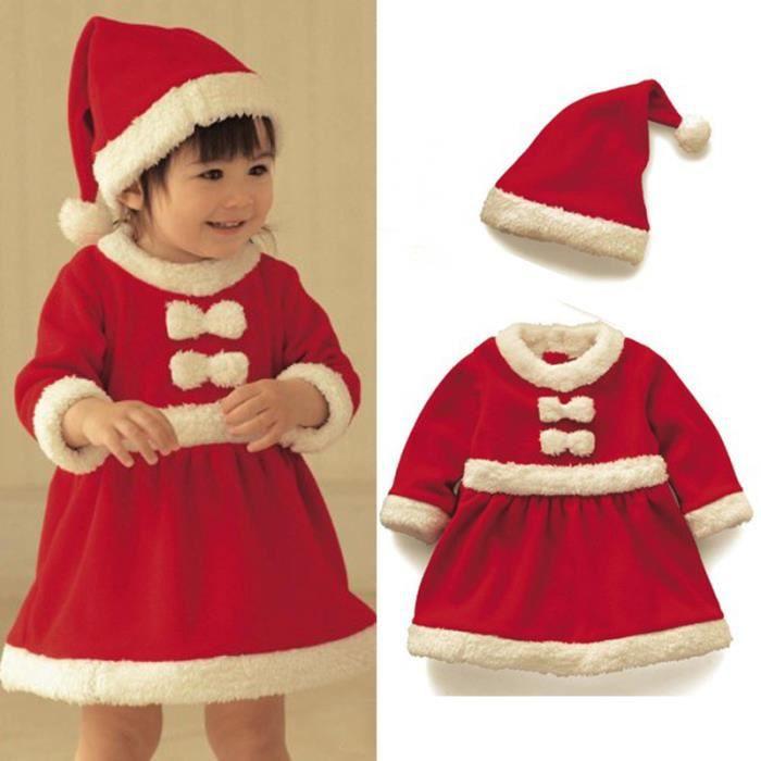 17828c6f4d824 0-24 Mois Bébé Fille Robe Noël en Velours Manche Longue avec Bonnet ...