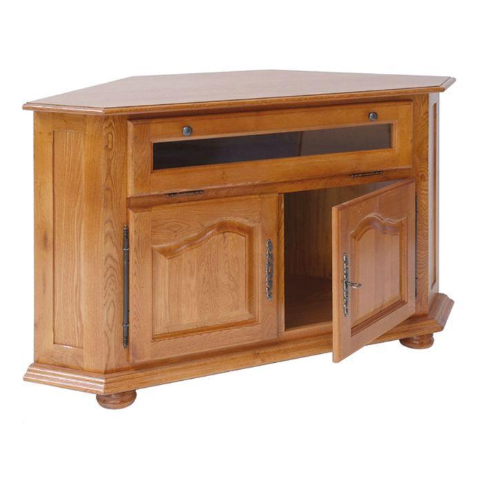 meuble t l d 39 angle 2 portes louis xiv rustique achat vente meuble tv meuble t l d 39 angle 2
