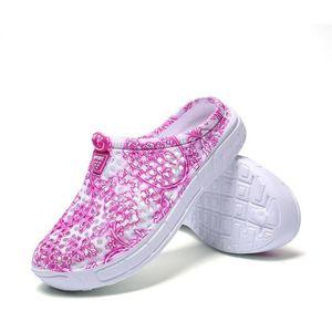 Sandale Mixte style chinois trou bleu et blanc en porcelaine Chaussons Respirant Plage bleu taille5.5 IbRLcC
