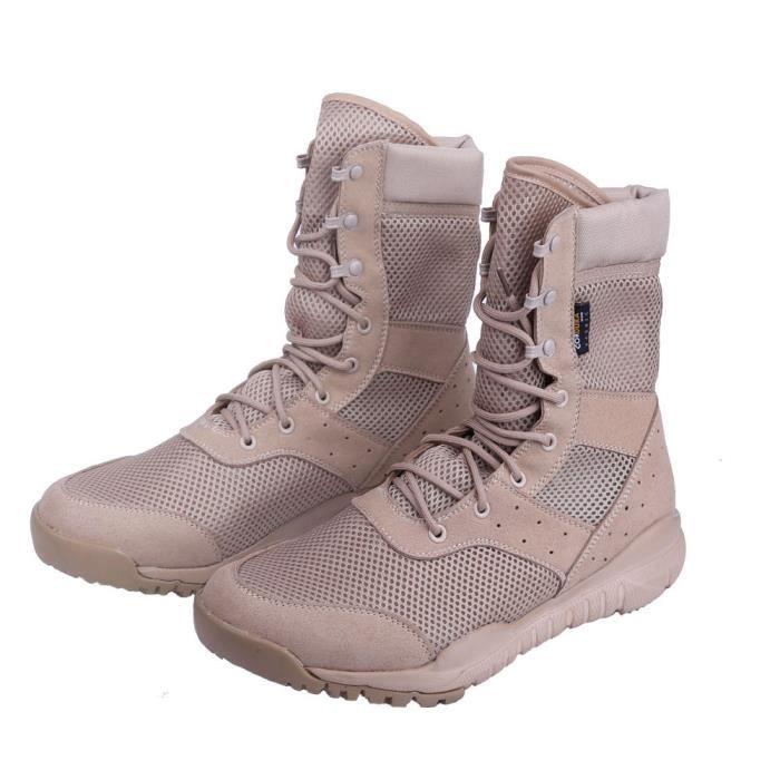 LD Bottes de combat beige engrener, Bottes tactiques de désert Bottes d'hommes militaires