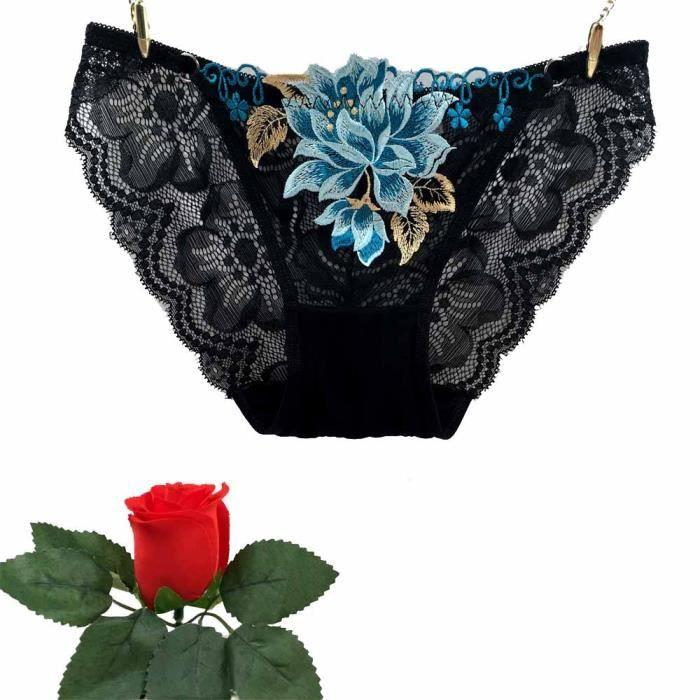 Dentelle Belle noir Femmes vêtements Basse Sous Sexy Taille Free Brodée PqFwnPCB