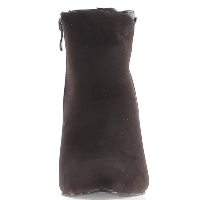Bottines femme marron à talonde 11cm bi matière - Couleur:Marron Pointure: 6c06r