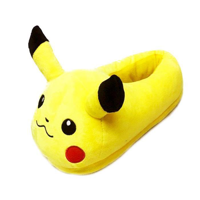 Homme Femme Pantoufles En Peluche Chausson Pokemon Hiver D'intérieur Halloween Cadeaux De Noël Casual DTG-XZ137Jaune40