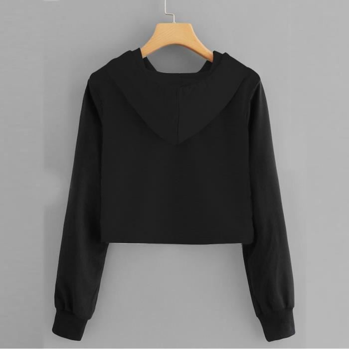 Animals Chemisier Femmes Imprimer Manches shirt Capuce Longues Noir Fille Sweat Crop Tops dYpqx
