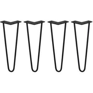 skiski legs 4 pieds de table en pingle cheveux 35 5cm 2 tiges en acier noir paisseur 10mm. Black Bedroom Furniture Sets. Home Design Ideas