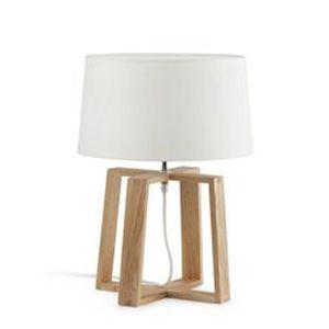 LAMPE A POSER Lampe de table en bois et tissu blanc Bliss