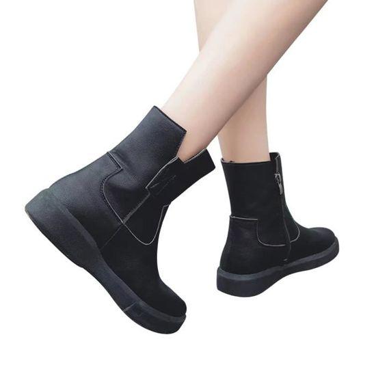 Femmes en cuir Bottes plates bas Zipper Moyen Bottes Tube Casual Chaussures Martin Bottes Noir Noir - Achat / Vente botte