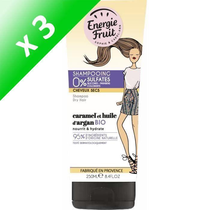 ENERGIE FRUIT Shampoing pour cheveux secs - Caramel et Huile d'Argan - 250 ml (Lot de 3)
