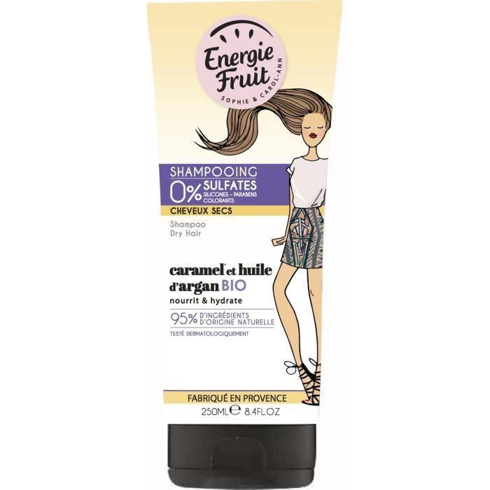 ENERGIE FRUIT Shampoing pour cheveux secs CARAMEL et Huile d'Argan - 250 ml