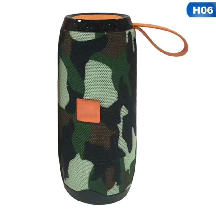 1pc Support Fm Radio Sans Fil Portable Double Camouflage Haut-parleur Bluetooth H06