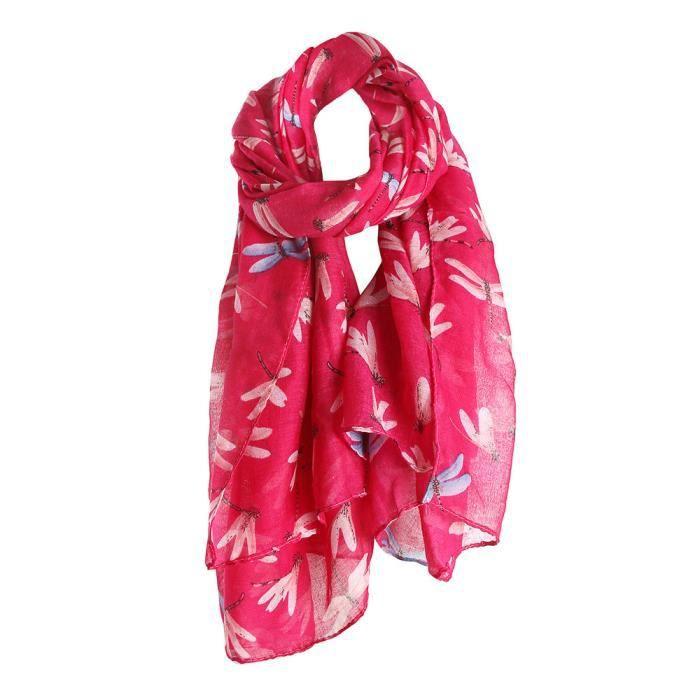 dd4e0b644f0 Femmes DragonFly Imprimé Longue Écharpe Chaud Wrap Châle CHAUD 745 Rose vif