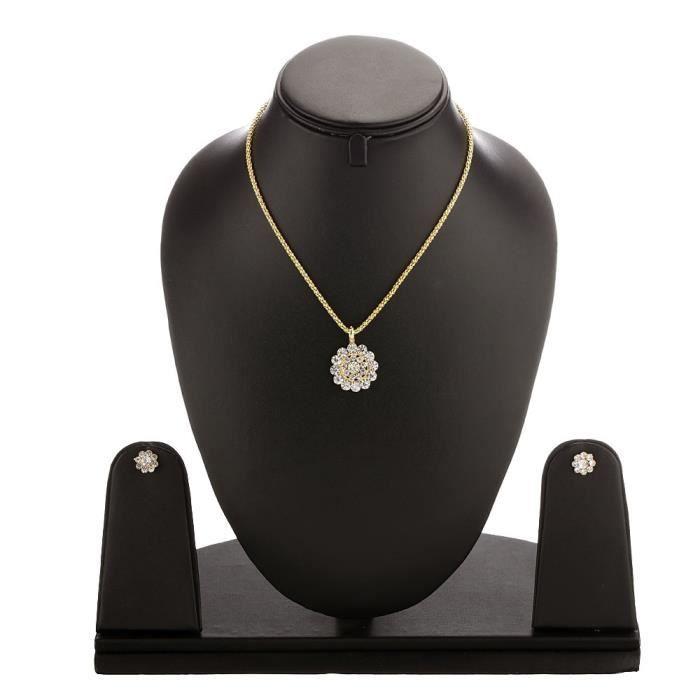 Designer Antique femmes Kundan Ensemble pendentif avec chaîne et boucles doreilles et bijoux pourN1K7J