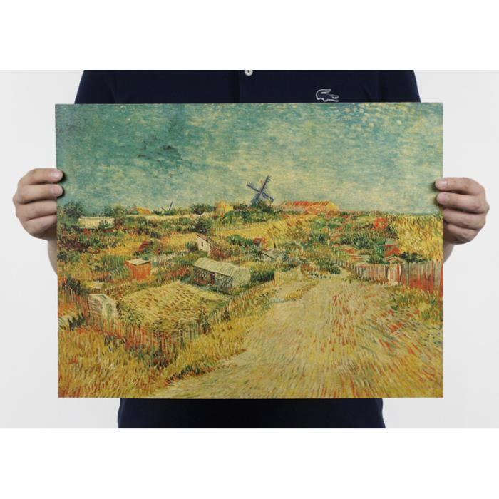 Poster Affiche En Papier Kraft Peinture Van Gogh Collection Vintage Décoration Murale Pour Chambre Bar Café Boutique