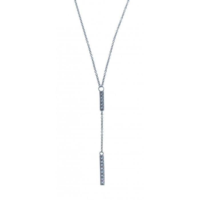 Collier en argent rhodié- zircons - 42 cm
