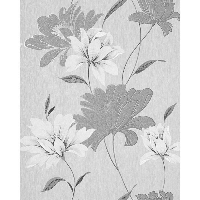 Papier Peint Design Motif Floral Fleurs Edem 168 36 Gris Gris Clair