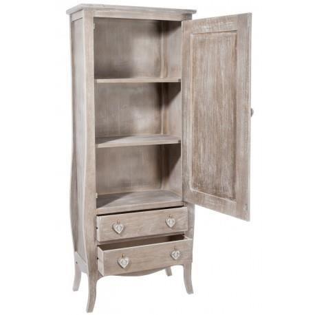 garde robe romantique 1 porte 2 tiroirs coeur en bois naturel 70x37x180cm j line achat. Black Bedroom Furniture Sets. Home Design Ideas