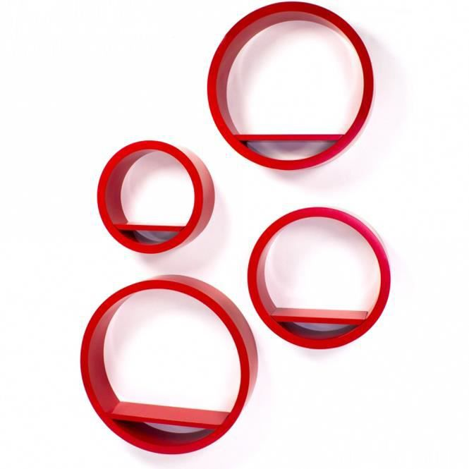 Étagère cube murale de 4 piéces en Rouge couleurs   Achat / Vente