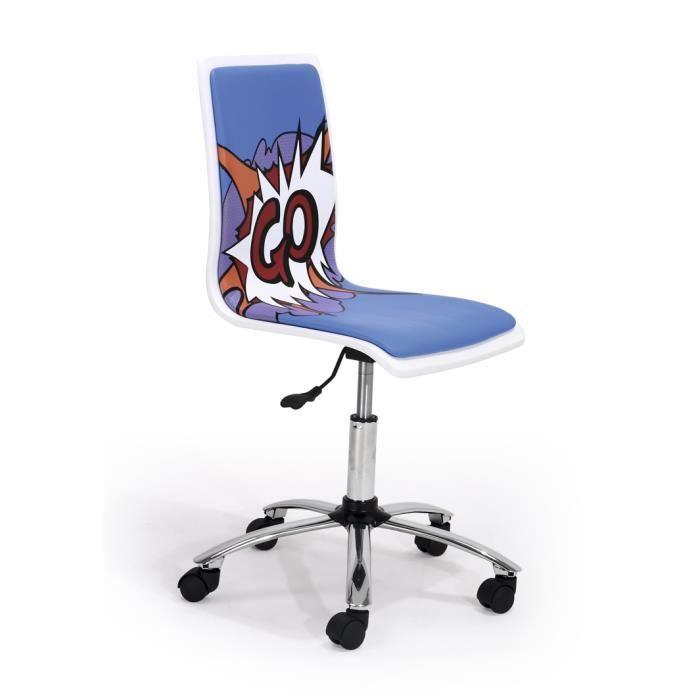 Chaise De Bureau Blanc Et Bleu Go Dimensions Achat Vente