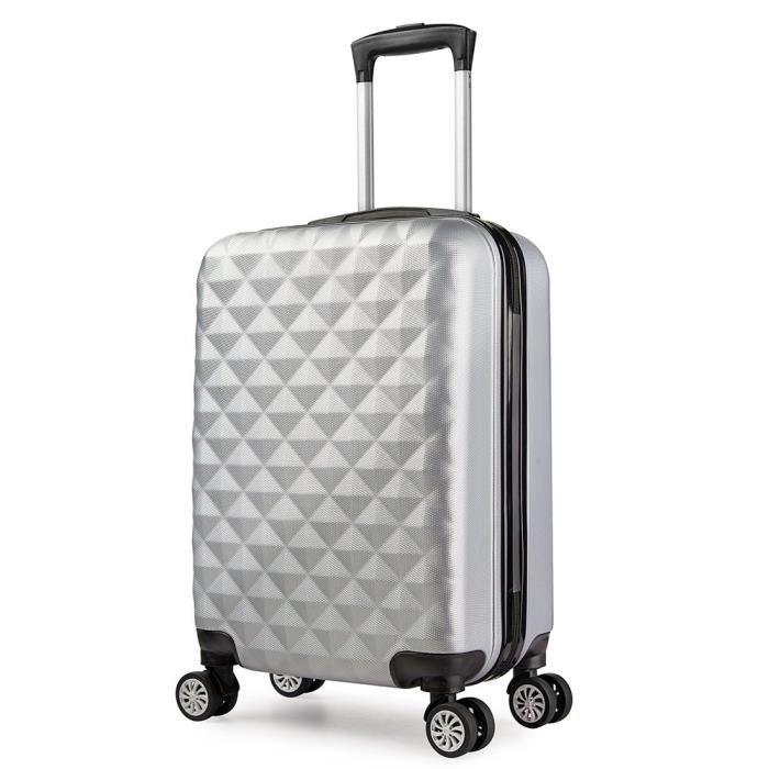 meilleures baskets 98e09 a7960 Valise cabine 55 cm ABS bagage cabine rigide 4 roues avion ryanair 4  couleurs 40L(Gris)