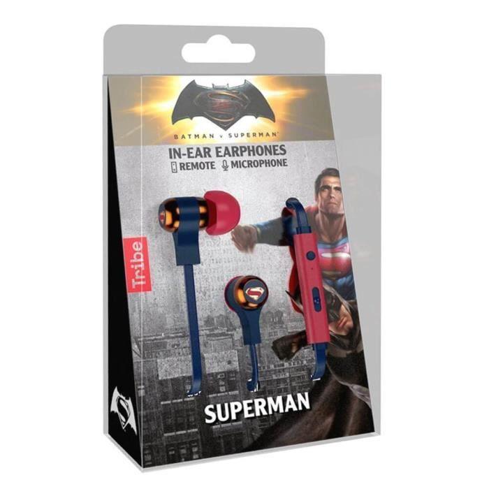 Sous Licence Officielle Tribe Superman Logo Stéréo Écouteurs Intra-auriculaires