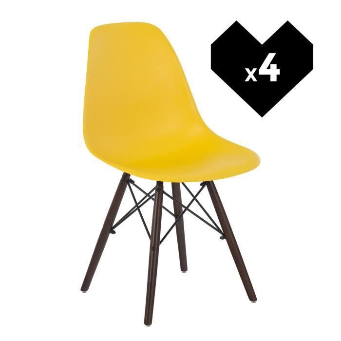 CHAISE Lot De 4 Chaises Design Scandinave IMS Jaune Fresi