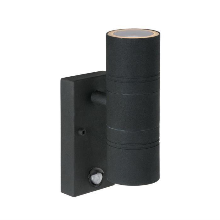 Noir Applique D'extérieur Avec 5cm Lumières 2 Détecteur Led H22 Lucide Arne Métal dCoerBx