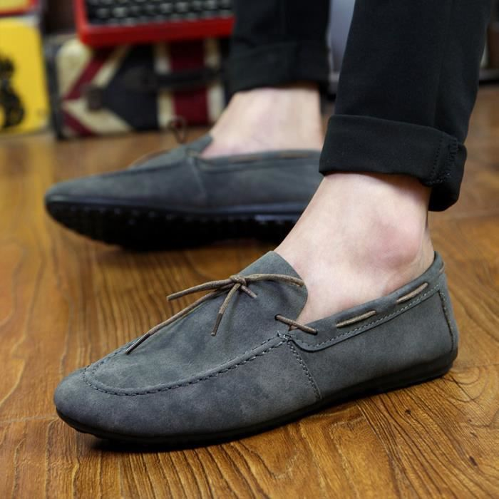 chaussures bateau daim Slip-on les hommes respi...