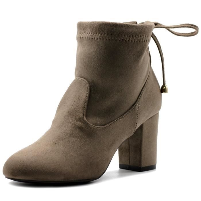 Bottes talon haut chaussure réglable avec cordon de serrage faux suède cheville UHYAL Taille-38 FKmncDG6